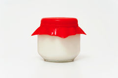 Jar of yogurt Royalty Free Stock Image