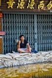 Jaransanitwongweg tijdens de slechtste overstroming Stock Foto