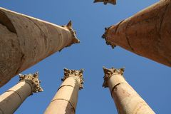 Jarash Columns. Ancient historical city, containing the effects of Roman. Jarash away from the Jordanian capital, 50 kilometers north stock images