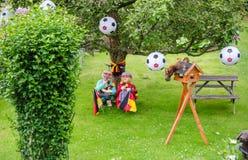 Jardín adornado para el campeonato del fútbol Foto de archivo libre de regalías