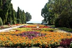 Jardín botánico con las flores y el mar Imagen de archivo