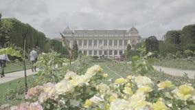 Jardín botánico en París El exterior de la gran evolución Galery almacen de metraje de vídeo