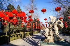 Jardín botánico tradicional histórico de Pekín, China en invierno, durante Año Nuevo chino Imagenes de archivo