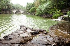 Jardín chino después de la lluvia Imagen de archivo libre de regalías