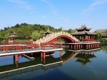 Jardín chino en los estudios del mundo de Hengdian Fotos de archivo