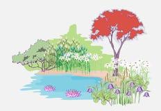 Jardín con el arce stock de ilustración