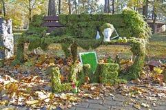 Jardín con la decoración florística, diseño del floristics Imagen de archivo