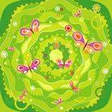 Jardín con la mariposa, vector   stock de ilustración