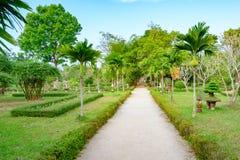 Jardín con las porciones de bonsais en la tonalidad imperial de la ciudad, Vietnam Jardín en la ciudad Prohibida de la tonalidad fotografía de archivo libre de regalías