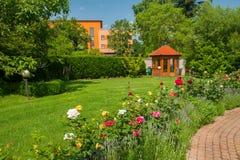 Jardín con las rosas Imagen de archivo
