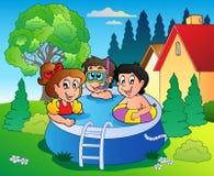 Jardín con los cabritos de la piscina y de la historieta stock de ilustración