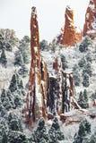 Jardín de dioses - nieve del invierno de Colorado Springs Foto de archivo libre de regalías