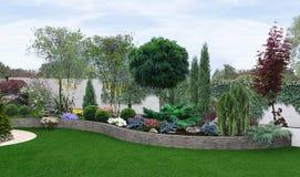 Jardín de dos niveles que crea, ejemplo 3d ilustración del vector