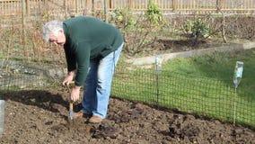 Jardín de excavación del hombre mayor con una espada metrajes