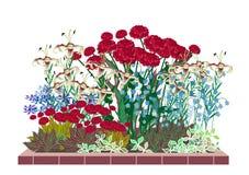 Jardín de flor con las rosas y los lirios stock de ilustración
