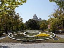 Jardín de flores cerca del castillo de Himeji Imágenes de archivo libres de regalías