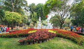 Jardín de flores del festival de primavera en año lunar Imagenes de archivo