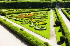 Jardín de flores del palacio de Kromeriz Foto de archivo