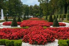 Jardín de flores en el palacio de Wilanow Fotografía de archivo