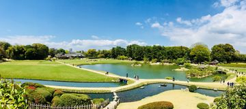 Jardín de Korakuen en Okayama Japón Fotos de archivo