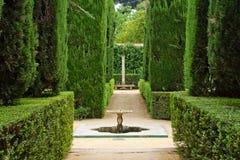 Jardín de los poetas, palacio del Alcazar fotos de archivo