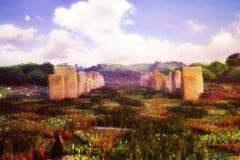 Jardín de piedras derechas Foto de archivo libre de regalías