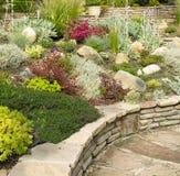 Jardín de roca colorido con la pared de piedra Imagen de archivo