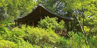 Jardín de té chino con la pagoda imagen de archivo
