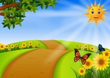 Jardín del paisaje con el girasol ilustración del vector