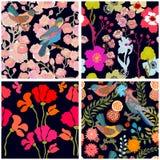 Jardín del paraíso Modelo de seda de la bufanda con las flores, las hojas y la fan libre illustration