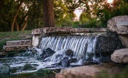 Jardín del verano con una cascada Imágenes de archivo libres de regalías