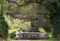 Jardín descuidado viejo con los pedazos de carriles Foto de archivo libre de regalías