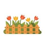 Jardín hermoso con diversas flores detrás de la cerca Ejemplo plano del vector del estilo Fotos de archivo libres de regalías