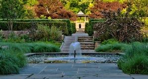 Jardín japonés con la fuente y la piscina Imagen de archivo