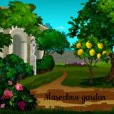 Jardín mágico con el árbol de fruta cítrica, las flores y el statuett Imagen de archivo