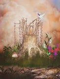 Jardín mágico con el trono de hadas stock de ilustración
