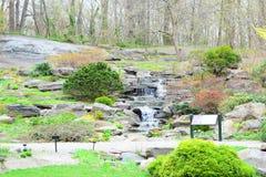 Jardín o parque con la mini cascada imágenes de archivo libres de regalías