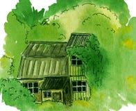 Jardín overgrown, cabaña abandonada con el verdor - ejemplo pintado a mano de la acuarela stock de ilustración
