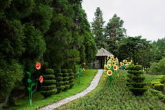 Jardín suizo de la granja del condado de Nantou, Taiwán Cingjing pequeño foto de archivo