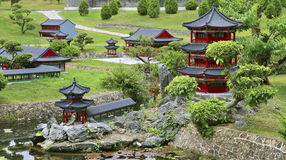 Jardín tranquilo y del peacefull del chinse del zen Fotografía de archivo