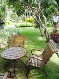 Jardín tropical del centro turístico Imágenes de archivo libres de regalías