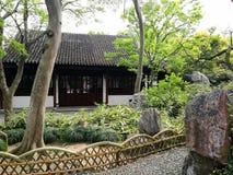 Jardín y casa chinos antiguos fotografía de archivo libre de regalías