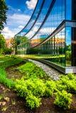 Jardín y edificio moderno en John Hopkins University en Baltimo Foto de archivo libre de regalías