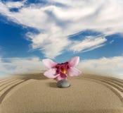 Jardín y floves de piedra Imagen de archivo libre de regalías
