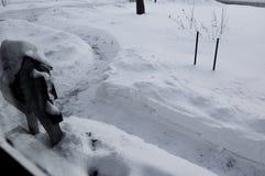 Jarda coberto de neve com trajeto e a caixa postal trabalhados com pá foto de stock