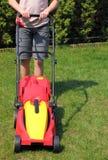 Jarda de sega com lawnmower Imagem de Stock