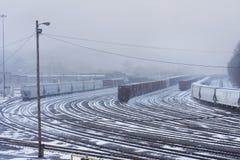 Jarda nevado do trem Imagens de Stock