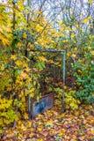 Jardim abandonado com porta aberta em Eslováquia Foto de Stock