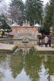 Jardim barroco do palácio de Hellbrunn no inverno Salzburg, Áustria Fotografia de Stock Royalty Free