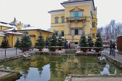 Jardim barroco do palácio de Hellbrunn no inverno Salzburg, Áustria Foto de Stock Royalty Free